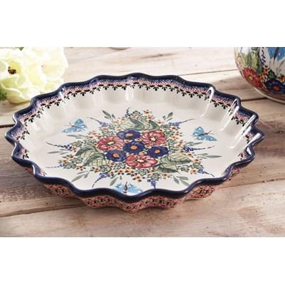 Naczynie ceramiczne do tarty GU-1332 DEK. 149 ART.  BOLESŁAWIEC 32 cm -- kremowy - rabat 10 zł na pierwsze zakupy!