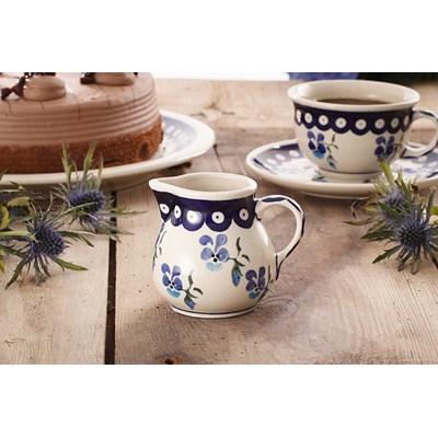 Dzbanek ceramiczny do mleka GU-785 DEK. 890 Boles�awiec 170 ml -- kremowy niebieski - rabat 10 z� na pierwsze zakupy!