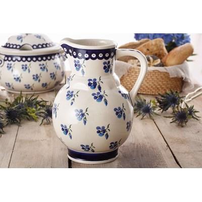Dzbanek ceramiczny na wodę GU-40 DEK. 890 Bolesławiec 1,75 l -- kremowy niebieski - rabat 10 zł na pierwsze zakupy!