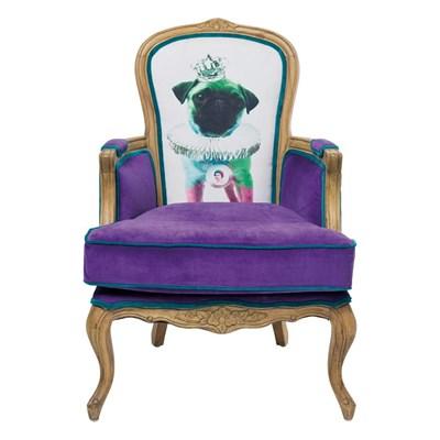 Kare Design Villa Grandfather Mops Fotel Fioletowy Tkanina - 76138