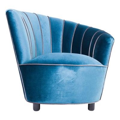 Kare Design Pipe Fotel Niebieski Tkanina 87x93cm - 78263