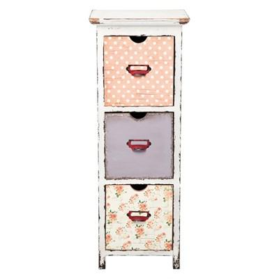 Kare Design Romantic Life Postarzana Komoda z 3 Szufladami Wysoka 95x35cm - 78315