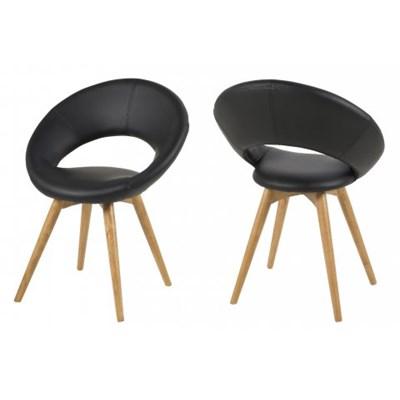 Actona Plump Czarne Krzesło Skóra Ekologiczna Nogi Drewniane - 0000056521