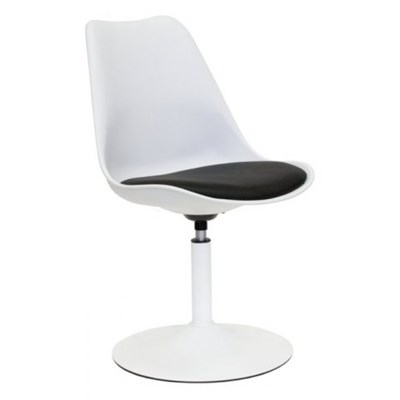 Tenzo Viva Nowoczesne Biało Czarne Krzesło, Biały Lakier Matowy - 3303-424