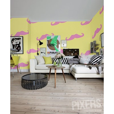 PINK MOUSTCHE IN YELLOW Fototapeta 450 x 240 cm