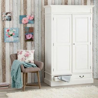 Dekoria Szafa VINCENT 2-drzwiowa biała, szer. 115 cm x głęb. 55 cm, wys. 190 cm