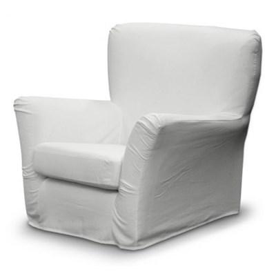 Dekoria Pokrowiec na fotel Tomelilla z zakładkami, Old White (kremowa biel), fotel Tomelilla, Cotton Panama