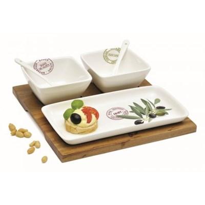 Dekoria Komplet 2 miseczek i połmiska na tacy Mediteraneo Oliv