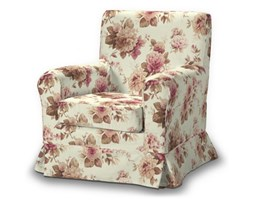 Dekoria Pokrowiec na fotel Ektorp Jennylund, bordowo-beżowe róze na kremowym tle, Fotel Ektorp Jennylund, Mirella