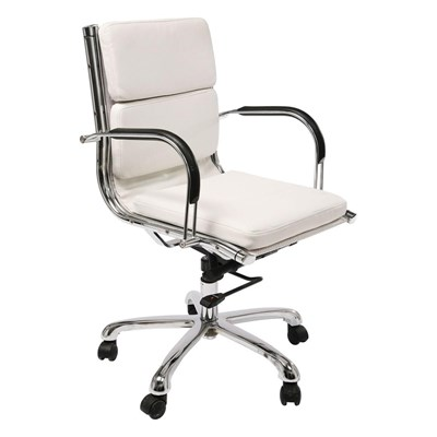 Kare Design Relax Napalon Krzesło Biurowe Białe Skóra Ekologiczna - 73875