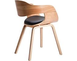 Kare Design Costa Beech Krzesło z Podłokietnikami Brązowo Czarne, Drewno Bukowe Skóra Ekologiczna - 78580