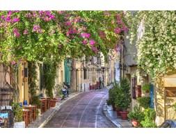 Fototapeta F3226 - Kwiatowa uliczka w Grecji