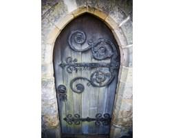 Fototapeta F3011 - Drewniane drzwi z metalowymi wzorkami