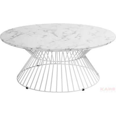 Kare Design Cintura Biały Stolik Kawowy, Żelazo Marmur O90cm  - 79077