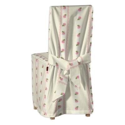 Dekoria Sukienka na krzes�o Bertil, paski z ró�owymi ró�yczkami na kremowym tle, krzes�o Bertil, Ashley