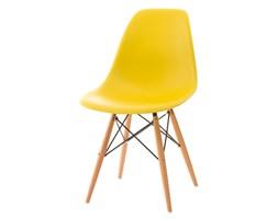 Krzesło P016W PP żółte, drewniane nogi kod: DK-24234