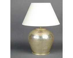 Mosiężna lampa stołowa w kolorze srebrnym