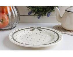 Ceramiczny talerz obiadowy KOKARDA 25 cm -- kremowy - rabat 10 zł na pierwsze zakupy!