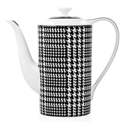 EICHHOLTZ Czajniczek Bergdorf ø10 H. 25cm porcelana czarno białe wykończenie - 08910