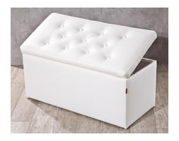 Dekoria Skrzynia tapicerowana z guzikami, kremowa biel (eko-skóra), 120x40x40cm, Eco-leather