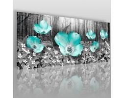 Płatki kwiatów w modnej mięcie - nowoczesny obraz na płótnie