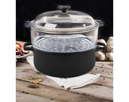 Garnek żeliwny do gotowania na parze CHASSEUR CZERŃ 7,5 l -- czarny - rabat 10 zł na pierwsze zakupy!