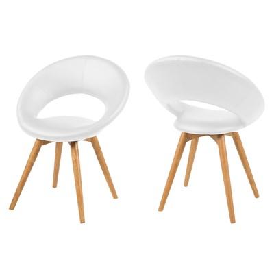 Actona Actona Plump Białe Krzesło Skóra Ekologiczna Nogi Drewniane - 0000056522