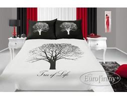 Pościel Satynowa Eurofirany 160x200 Tree Biało Czarna