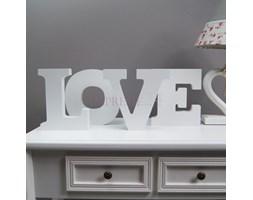 Napis z drewna LOVE, biały mat.