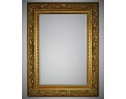 Piękne kryształowe lustro w postarzanej złotej ramie 90x120