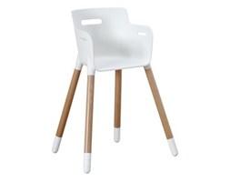 Krzesełko FLEXA Junior z plastikowym białym siedziskiem i nogami bukowymi