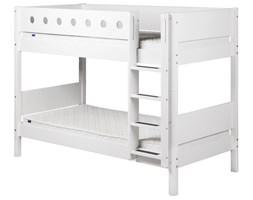 Białe łóżko dziecięce podwójne z drabinką