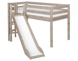 Łóżko ze zjeżdżalnią, Classic z platformą, drabinka prosta, sosna, terra