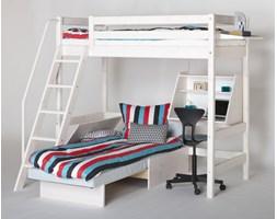 Łóżko wysokie Classic krótsze z pochyłą drabinką z białą poręczą, z sofą