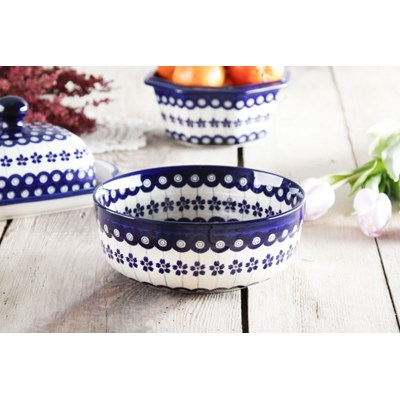 Miska ceramiczna GU-8341 DEK. 166A Bolesławiec 1 l -- kremowy niebieski - rabat 10 zł na pierwsze zakupy!