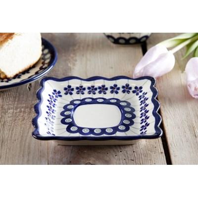 Ceramiczny talerzyk / Spodek GU-1609 DEK. 166A Boles�awiec 14 x 14 cm -- kremowy niebieski - rabat 10 z� na pierwsze zakupy!