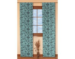 Dekoria Zasłony panelowe 2 szt., brązowe wzory turkusowym tle, 60 x 260 cm, Modern/Trend