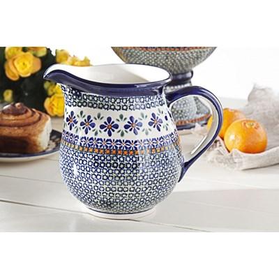 Dzbanek ceramiczny na wodę GU-1107 DEK. DU60 Bolesławiec 1,7 l -- kremowy - rabat 10 zł na pierwsze zakupy!