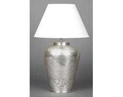 Mosiężna lampa z kwiatowym motywem srebrna