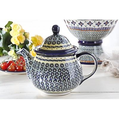 Dzbanek ceramiczny GU-943 DEK. DU1 Boles�awiec 1,7 l -- kremowy niebieski - rabat 10 z� na pierwsze zakupy!