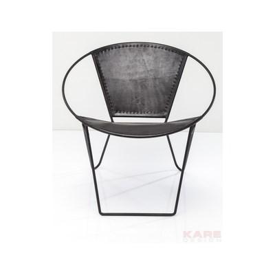 Kare Design Czarne Krzesło Bucket, Skóra Naturalna Żelazo - 79123