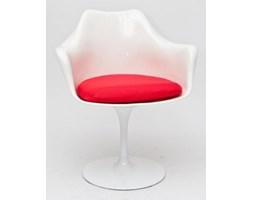 Krzesło TulAr - D2 - białe, czerwona poduszka