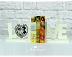 Podpórki do książek LOVE z ramką białe