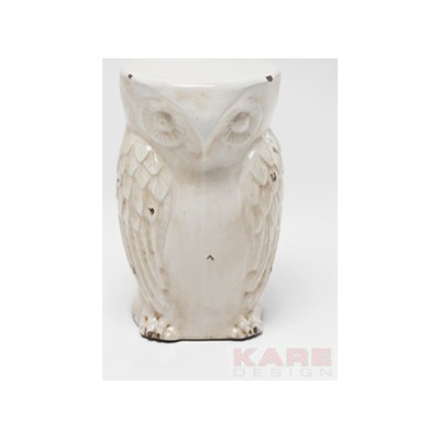 Kare Design Owl Vintage White Stołek Biały Porcelana - 79442