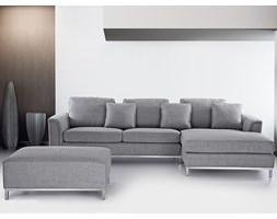 Sofa narozna z pufa w kolorze jasnoszarym - kanapa tapicerowana - OSLO