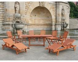 Meble ogrodowe drewno - stól, 2 lezanki, 6 krzesel - TOSCANA