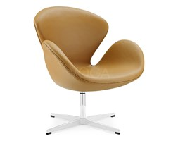 Swan Chair with piping brown