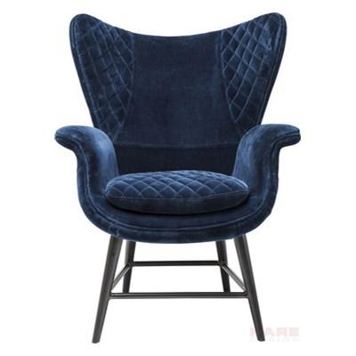 Kare Design Tudor Blue Fotel Niebieski Aksamit Włókno Szklane Żelazo  - 79523