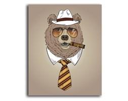 Niedźwiedź z cygarem, Obraz na płótnie - Canvas