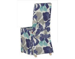 Dekoria Sukienka na krzesło Harry długa, turkusowo-szaro-granatowe kwiaty, krzesło Harry, Mosaik/Oslo